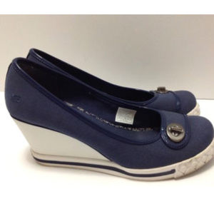 Skechers Womens Wedge Espadrille Navy Shoes Size 8